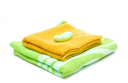 orange washcloth: Towels and soap