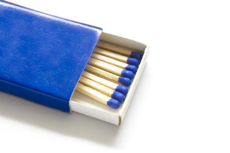 Matches in blue box closeup Stock Photo