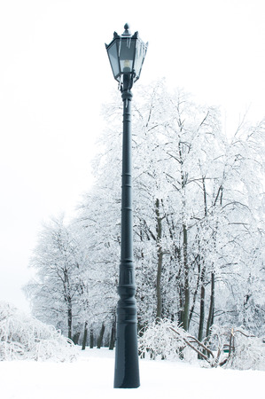 lamp post: Lampione in inverno Archivio Fotografico