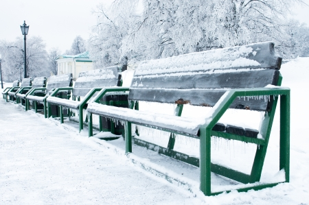 snowlandscape: Benches in the park in winter