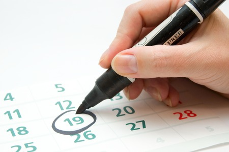 important date: Hand writing important date