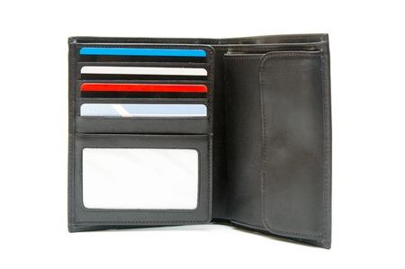 pocketbook: Open pocketbook on white  Stock Photo