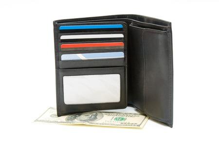 pocketbook: Open pocketbook and dollar banknote