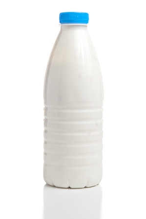 Milk bottle isolated on white background 스톡 콘텐츠