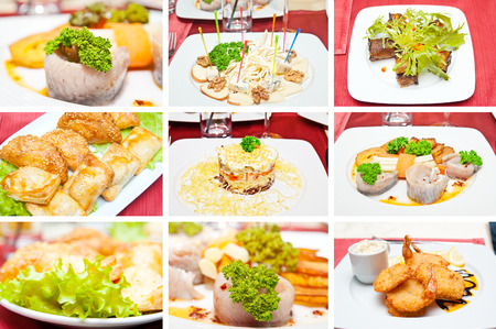 Collage of different appetizers photo
