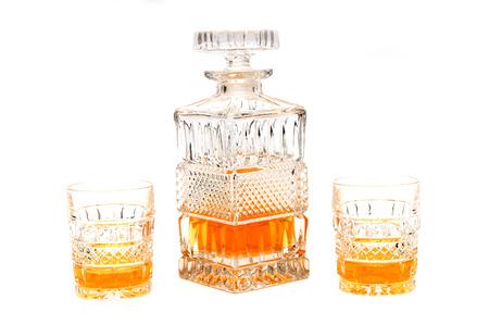 Kristallkaraffe und Gläser mit Cognac Lizenzfreie Bilder