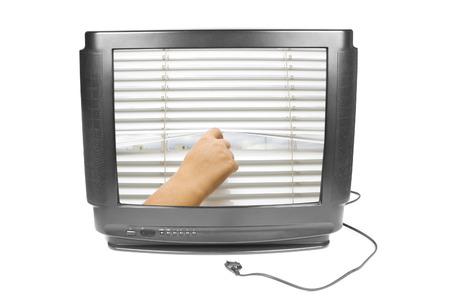 window coverings: Hand opens the jalousies on the TV screen