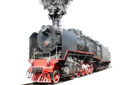 Old steam locomotive on white background Foto de archivo