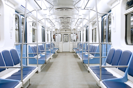 Subway train interior 免版税图像