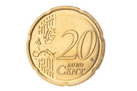 Twenty euro cent closeup
