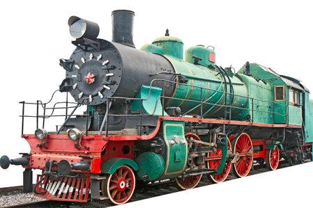 Alte Dampflokomotive auf weiß Lizenzfreie Bilder