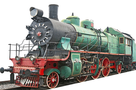 Old steam locomotive on white