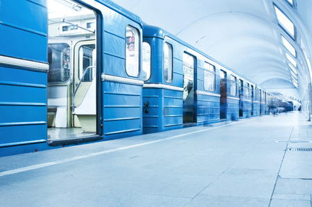 Blue train on subway station
