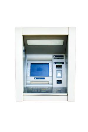 dispense: Muro de dispensaci�n de efectivo aislado en blanco Foto de archivo