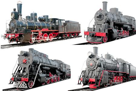 steam locomotives: Set of antique steam locomotives on white background