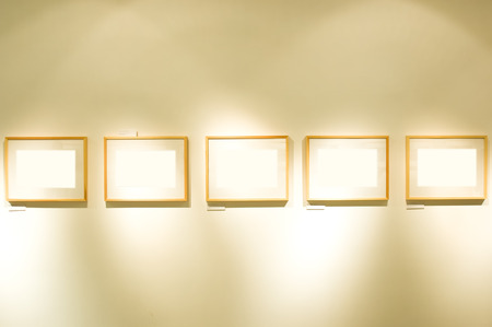 Set of frames on wall
