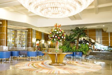 polished floors: Luxury hotel lobby reception area