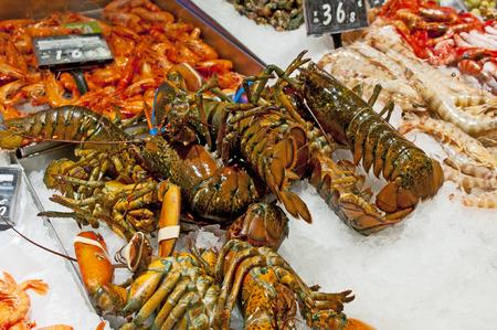 boqueria: Fresh fish stall in the Boqueria market, Barcelona