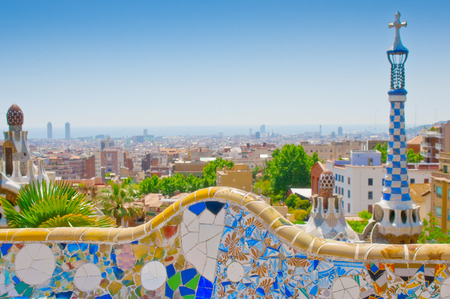 guell: Ceramic mosaic Park Guell  in Barcelona, Spain  Park Guell is the famous architectural town art designed by Antoni Gaudi and built in the years 1900 to 1914  Stock Photo