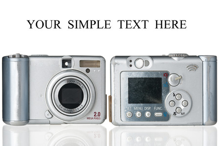 megapixel: Two old-fashioned compact cameras on white background