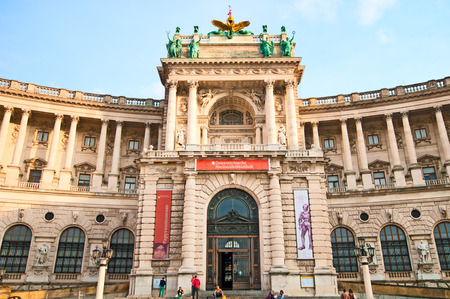 hofburg: Austrian National Library and the Hofburg Congress Center on Heldenplatz in Hofburg,Vienna, Austria. Editorial