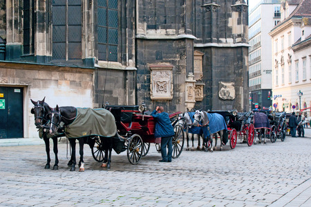 Traditional old-fashioned fiacres at Stephansplatz of Vienna, Austria. Stephansplatz is the most popular square in the city