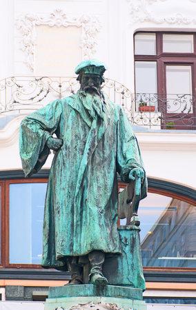 johannes: Johannes Gutenberg memorial in Vienna, Austria. It was open in 1897. Sculptors by Jerzy Plecnik and Othmar Shimkovits Editorial