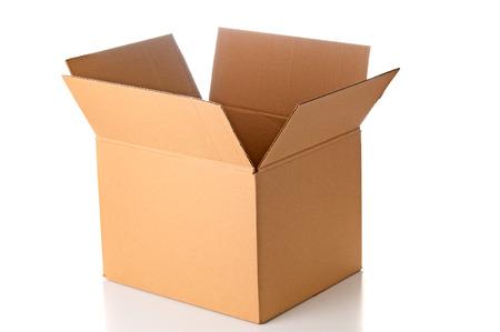 Open cardboard box closeup Foto de archivo
