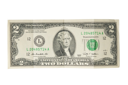 two dollar bill: Two dollar bill on white background