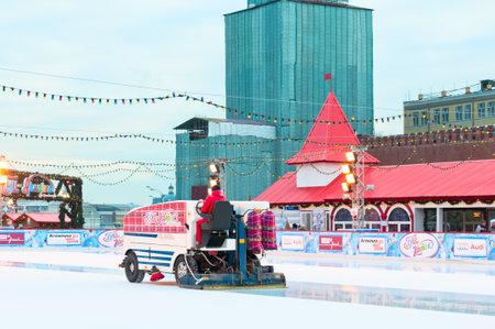 car polish: Car polish ice on GUM Skating rink at Red Square Editorial