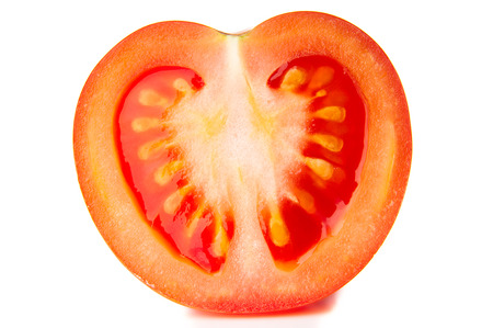 Tomato slice on white background