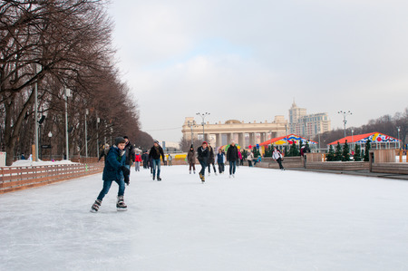 skating rink: People at Skating rink in The Central Park of Culture and Rest named after Maxim Gorky in Moscow.