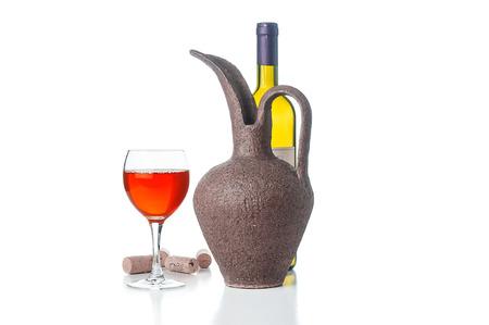 bocal: Wine bottle, jug and glass on white background Stock Photo