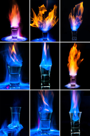 Set of images  flaming alcohol drink