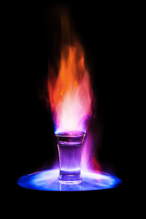vodka: Flaming vodka in glass