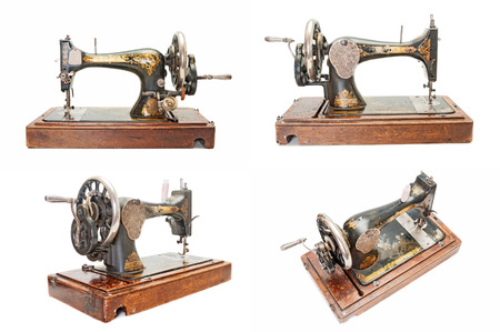 sewing machines: Set of vintage sewing machines Stock Photo