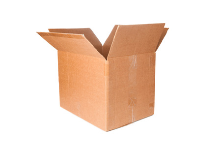 Open cardboard box closeup Imagens