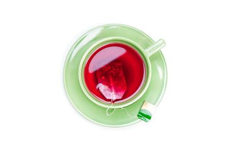 Cup mit Teebeutel auf weißem Hintergrund Standard-Bild - 41174859