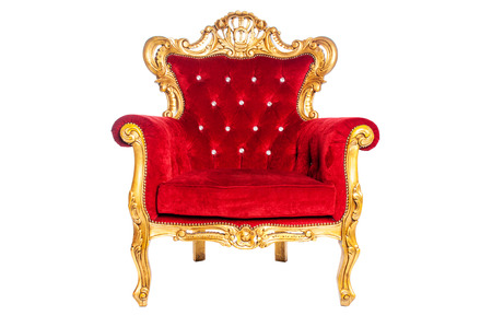 antique chair: Red luxury armchair isolated on white background