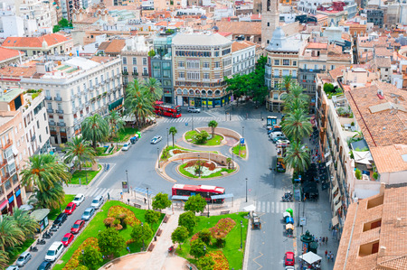 View above of Plaza de la Reina. Valencia, Spain