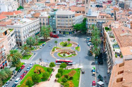 View above of Plaza de la Reina. Valencia, Spain