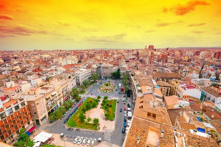 Über Ansicht der Plaza de la Reina. Valencia, Spanien