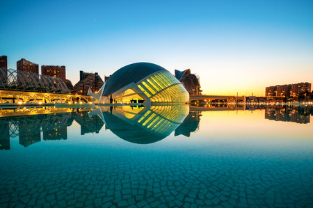 arte moderno: La ciudad de las Artes y las Ciencias de Valencia, España.