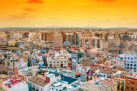 aerial view: Aerial view of Valencia, Spain Stock Photo