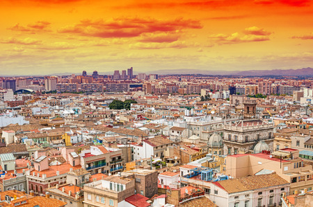 aerial: Aerial view of Valencia, Spain Stock Photo
