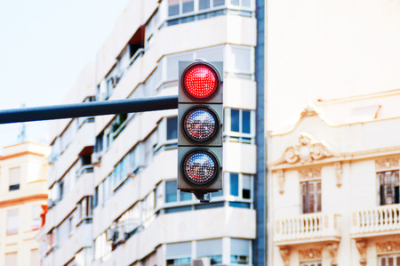 trafficlight: Red traffic light closeup Stock Photo