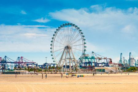 arenas: Beach Las Arenas and Ferris Wheel in Valencia, Spain Editorial