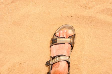 sandal: Pie en sandalia en la arena