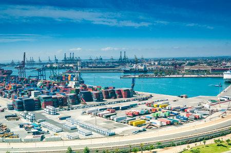 View above on sea port in Valencia, Spain Editoriali