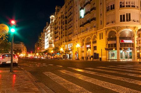 roadway: VALENCIA, SPAIN- JULY 05, 2015: Night roadway in Valencia, Spain